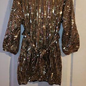 Fashion Nova - Size L - Black & Gold Sequin Dress